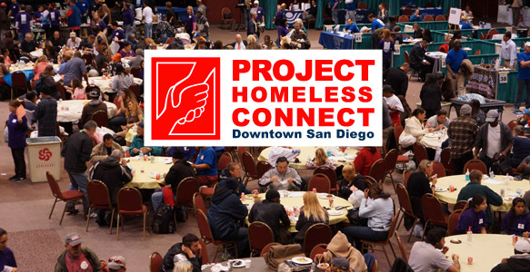 <span>Project Homeless Connect – Downtown San Diego</span><br>Volunteers, service providers and donations from the community are needed for The 9th Project Homeless Connect – Downtown San Diego. This one-day resource fair for homeless San Diegans will be held January 28, 2015. Learn more here.