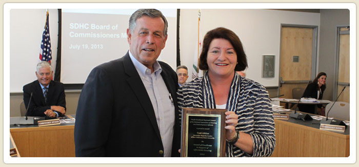 <span>Assemblymember Atkins Recognized </span><br>SDHC's Chairman of the Board, Gary Gramling, presented California Assembly Majority Leader Toni Atkins with PSWRC NAHRO's 2012  Appreciation award, which recognizes an elected official who has demonstrated excellence in advocating and supporting affordable housing.