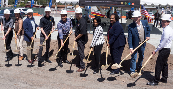 <span>Groundbreaking in Encanto</span><br>The SDHC partnership development Encanto Village will create 65 affordable rental apartments for low-income families, including eight units set aside for Veterans experiencing homelessness. Watch the Video 4.14.18