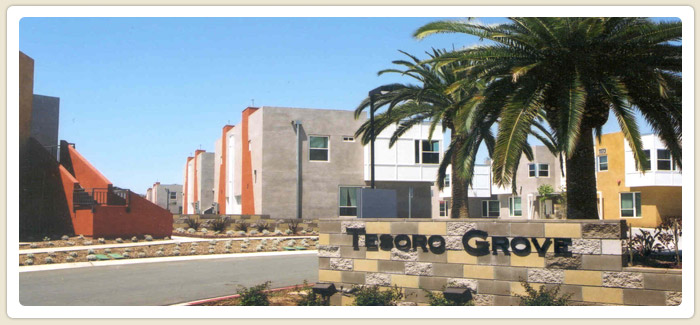 <span>Tesoro Grove</span><br>This apartment complex completed in 2003 in the Otay Mesa/Nestor community includes 104 affordable housing units for large families. (City Council District 8)