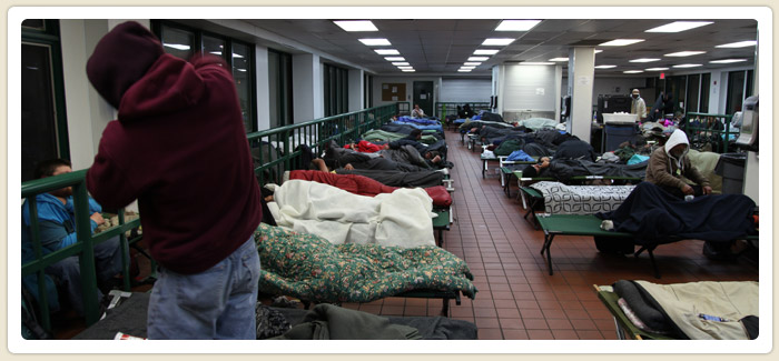 <span>Shelter Operations Expand in Cold Weather</span><br>An average of 151 individuals per night at four emergency shelters that opened January 11-14 to protect homeless San Diegans from near-freezing temperatures. SDHC provided funding for the additional beds. Watch Video. 1.15.13